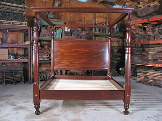 "CARIBBEAN TALL POST BED,KING SIZE, MAHOGANY, 5"" SOLID SINGLE PIECE POSTS AND HEAVY CANOPY  (B50)"