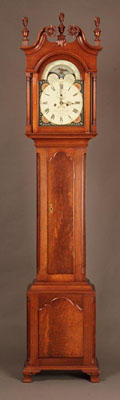 "PENNSYLVANIA CHIPPENDALE TALL CASE CLOCK, WALNUT WITH HAND PAINTED FACE, 94.5""H. (CL130)"