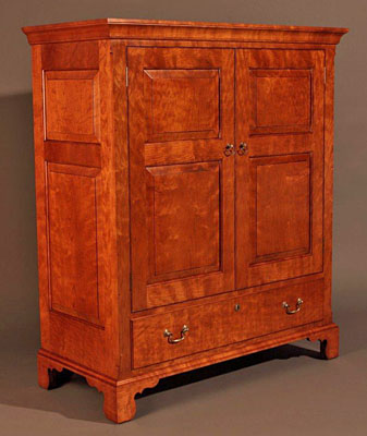 PENNSYLVANIA CUPBOARD OVER DRAWER.  SAME SET CURLY CHERRY.  54H X 44W X 20D (CUP429)