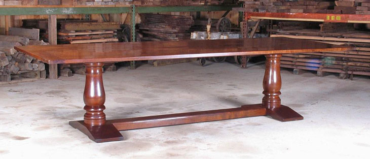 "PEDESTAL/ TRESTLE DINING TABLE, BLACK AND CLARO WALNUT, 48"" X 120"" BOOK MATCHED TOP, AGED FINISH  (T119)"