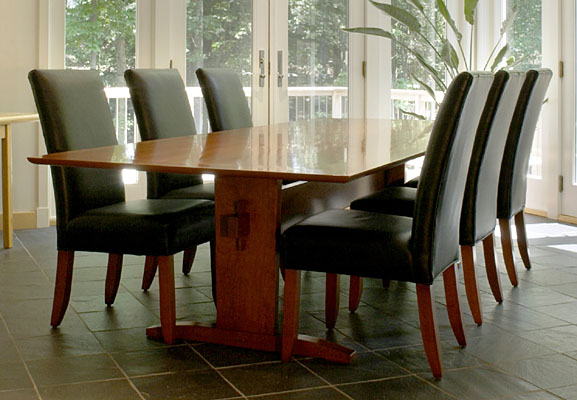 CONTEMPORARY TRESTLE TABLE, CURLY CHERRY, TWO BOARD TOP, 46W x 110L  (T195)
