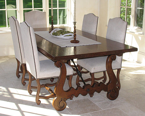 SPANISH REFECTORY TABLE WITH FORGED IRON STRETCHERS, WALNUT, AGED FINISH  (T196)